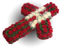 Венок крест из живых цветов №92