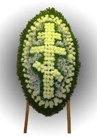 Венок крест из живых цветов №93