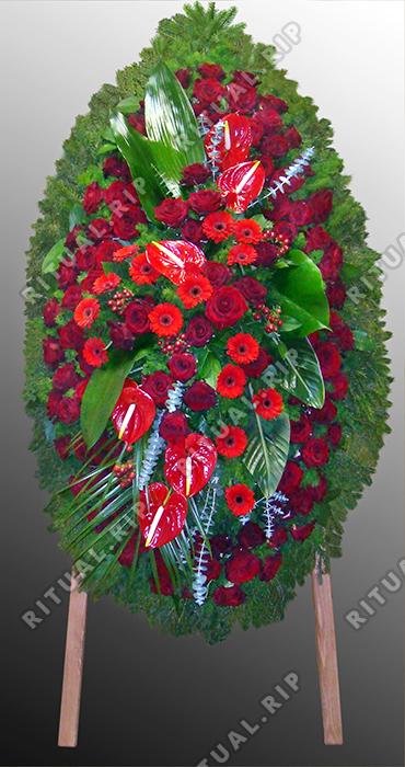 Венок из живых цветов №46