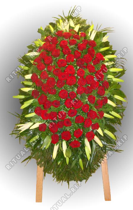 Венок из живых цветов №90