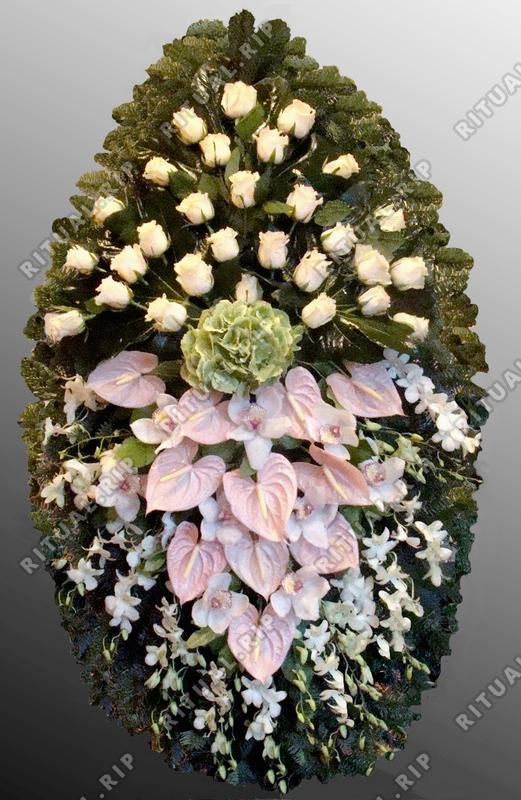 Венок из живых цветов №25