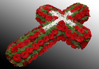 Крест из живых цветов №47