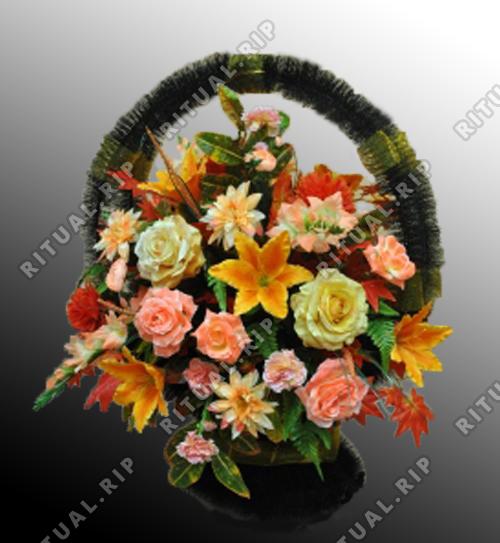 Ритуальная корзина из искусственных цветов №6