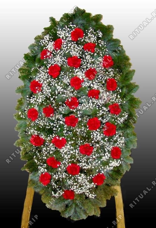 Венок на похороны из живых цветов №2