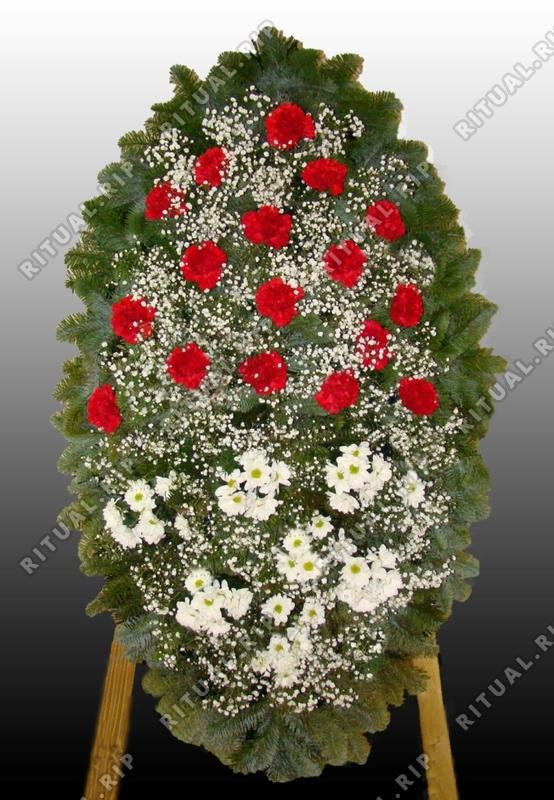 Венок на похороны из живых цветов №3