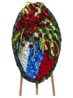 Венок из живых цветов Российский флаг