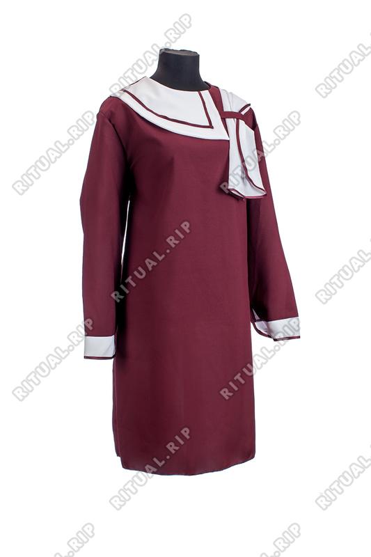 Комплект ритуальной женской одежды «Нежность» бордового цвета