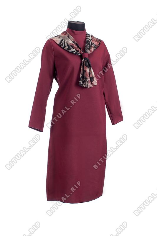Комплект ритуальной женской одежды «Шифоновый шарф» бордового цвета