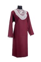 Комплект ритуальной женской одежды «Габардин» с кружевной вставкой бордового цвета