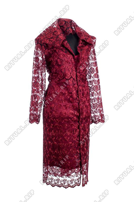 """Ритуальный Комплект женской одежды для похорон """"Элитный"""" с кружевом бордового цвета"""