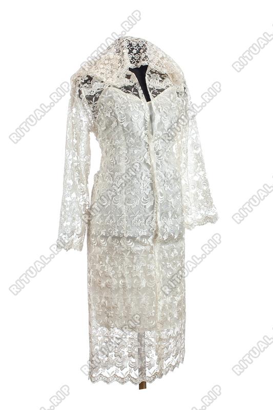 """Ритуальный Комплект женской одежды для похорон """"Элитный"""" с кружевом цвет шампань"""