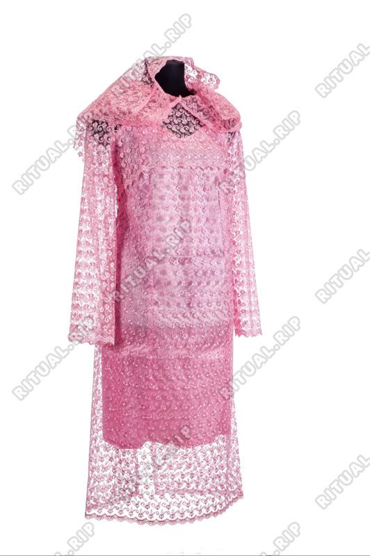 """Комплект женский для похорон """"Элитный"""" с кружевом розового цвета"""