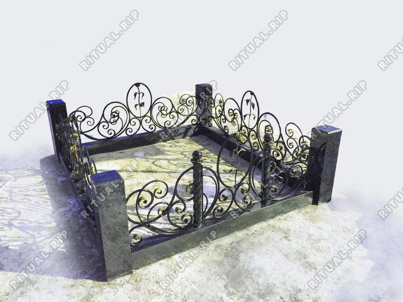 Гранитная ограда Роза Элит 1.8*2.0 м.